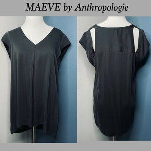 Maeve Anthropologie Black Blouse Size Small